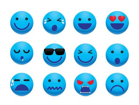Emotie gezicht icon set. Eenvoudig emotie pictogram ontwerp voor chat en social media. Vector Illustratie