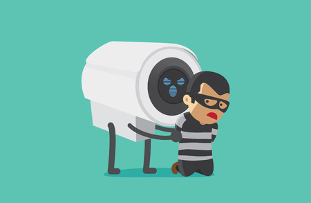arrested: CCTV Camera arrested robber. This illustration about good security concept of CCTV.