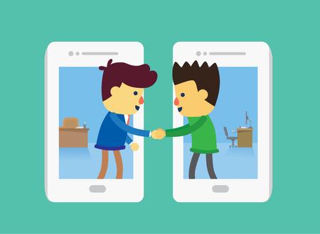 Hombre de negocios y de los clientes de teléfono inteligente en blanco y se dan la mano para tratar de negocios. Esta ilustración acerca de tratar de negocios por la tecnología de la comunicación.
