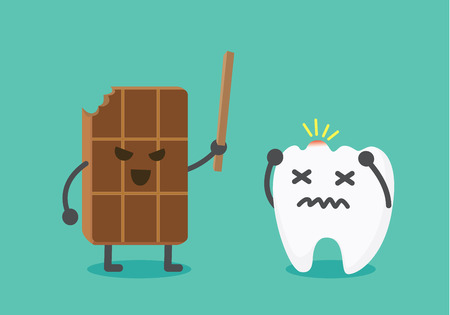 dentin: Chocolate make pain to tooth with hit head. This illustration about tooth decay from eating sweetmeat Illustration