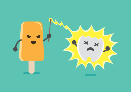 nerve damage: Ice cream attack the teeth to pain with magic from magic wand. This illustration about teeth healthy and eating. Illustration