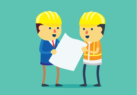ability: Engineer and architect wearing helmet and looking blueprint for working together in difference roles in team. This illustration about teamwork in difference roles.