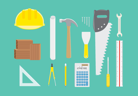 work tools: Engineer equipment collection in top view on green background Illustration