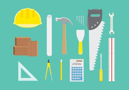 herramientas de trabajo: Equipos de ingeniería recogida en la vista superior sobre fondo verde