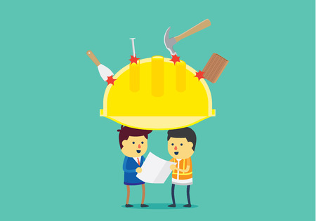 accident: Big yellow helmet protect head of engineer from accident on working time. This illustration about benefit of safety equipment.