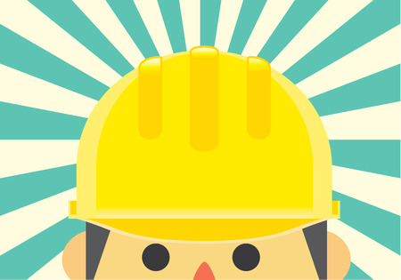 sunbeam background: Yellow helmet on engineer head for protect accident in working time on sunbeam background.