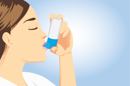 stop pollution: Allergic patient use asthma inhalers for delivering medication into the body via the lungs. Stop allergic symptoms