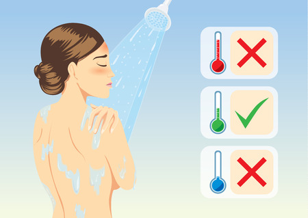 cold virus: Woman determine temperature of lukewarm water for reduce fever with bathing. Medical illustration.