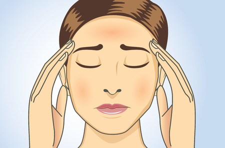 Woman touching her head because she has headaches and fever. This illustration about medical and health. Illustration