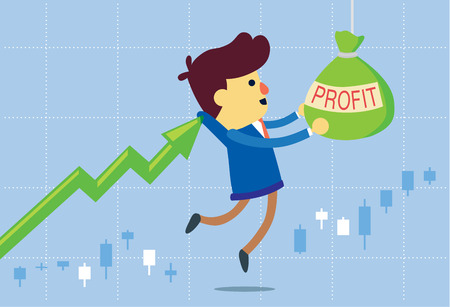 investor: Price arrow get investor to take profit bag in stock market. This illustration about make money of investment in stock.