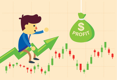 sell: Price arrow get investor to take profit bag in stock market. This illustration about make money of investment in stock.