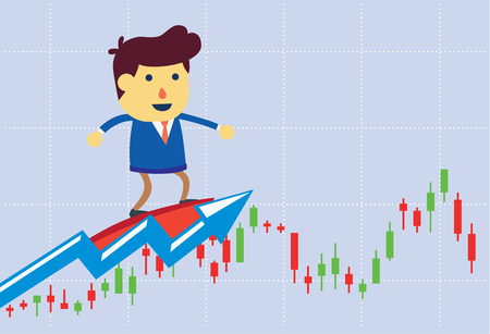 Investor surfing on price wave of charts in stock market. This is concept cartoon about stock investment.