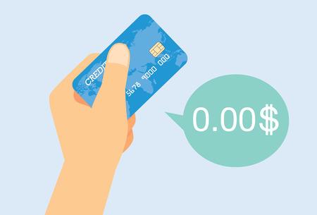 Mano que sostiene la tarjeta de crédito para pasar la tarjeta de crédito, pero no tiene dinero. Ilustración de vector