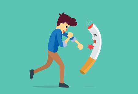 Man punching a cigarette to knock out. This illustration meaning to fighting for stop smoking.
