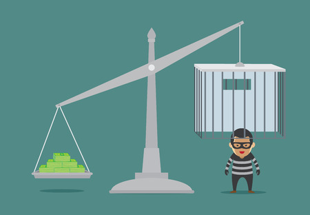 injustice: Place many bond in scales weight for prisoner release from prison. This illustration about bribery or meaning to bail.