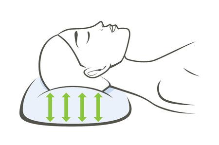 Mujer que duerme con una almohada que tienen un buen estiramiento para apoyar a dormir.