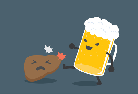 body damage: Beer kick a liver. This picture means drink beer harm the liver. Illustration