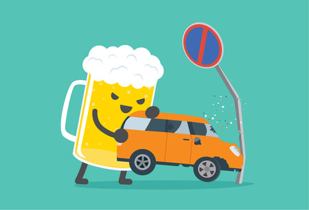 drunk driving: Beer lifting a car crashed into no parking signs. This illustration description to driving while drunk is case car accident.