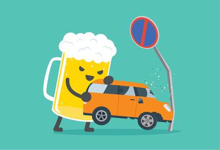 Bier het tillen van een auto crashte in geen parkeerplaats borden. Deze illustratie beschrijving drijven terwijl dronken is bij auto-ongeluk. Stock Illustratie