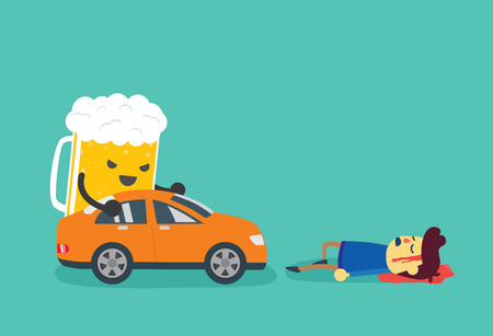 drunk driving: Man die after beer push a car crashed him. This illustration about drunk driving that causes of car accidents and tragedy.