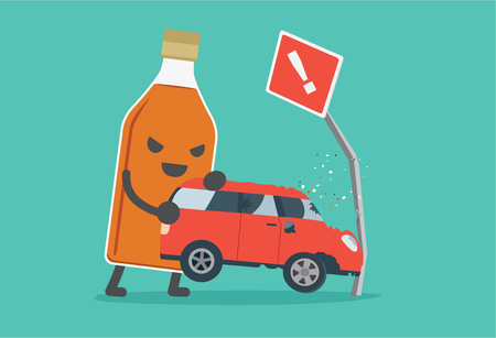Liquor bottles lifting a car crashes into road signs. This illustration description to driving while drunk is case car accident. Illustration