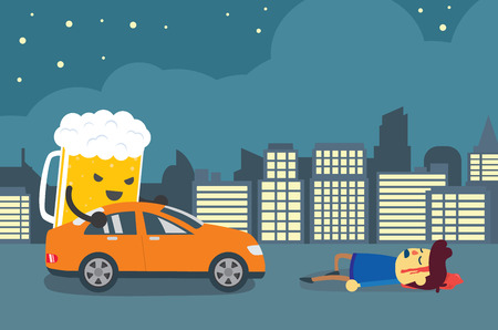 cartoon devil: Man injured and senseless after beer push a car crashed him. This illustration about drunk driving that causes of car accidents and tragedy.