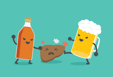 toxins: Liquor bottles and beer are damaging the liver. This illustration describe to drinking alcohol inflict severe damage to the liver.