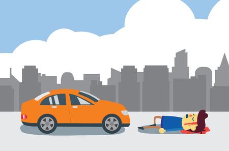 도시에서 자동차 충돌 후 부상 당하고 무감각 한 사람.