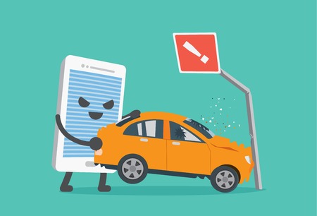 telephone pole: Telephone lifting a car crash with road signs. This illustration meaning to using a phone while driving make car accident