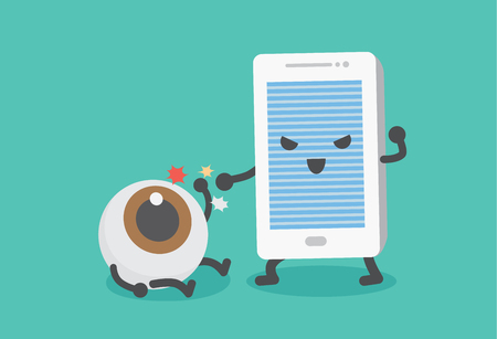 long term: Eye have been beaten from mobile phone. This picture means using smartphone for a long time may harm an eye. Illustration