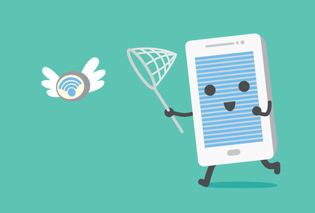 mobile telephone: Telephone catching Wifi signal in the air. Illustration about finding Wifi for connect with mobile phone.