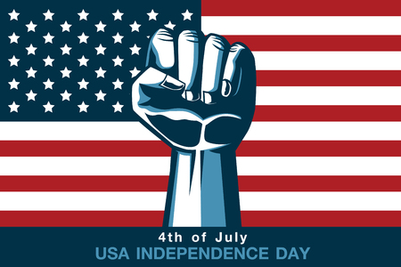 Lifting hand for showing fist on American flag background. Color tone in vintage style. This illustration about USA independence day.