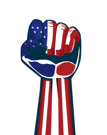 american revolution: Paint American national flag on a fist and arm. This illustration is concept about independence and vote and revolution and sports fan of American. Illustration