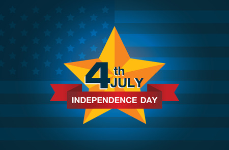declaration of independence: icon 4 July independence day of American on national flag background