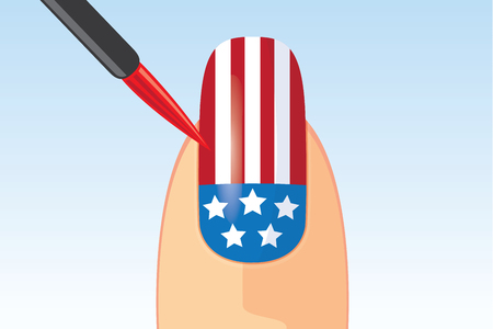 fantasy woman: American flag nail painting with brush. Beauty concept about American national