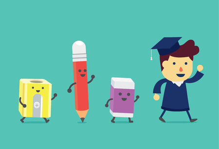 graduation suit: Graduate man walking to with stationery. Pencil and eraser and pencil sharpener walking follow the him like a assistant in education.
