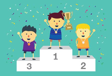 poppers: Three ranking winner kids standing on the winning podium holding up winning trophy.