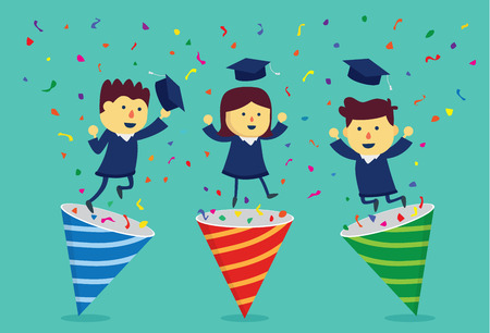 popper: Student in academic dress exploding out of party popper. This illustration about celebrate graduate.