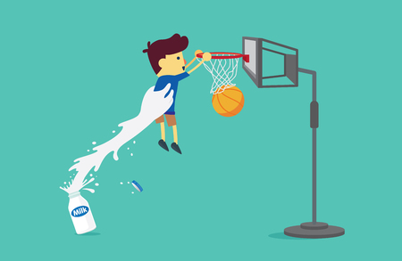 Big hand from milk bottle lifting a boy to shoot a basketball into the hoop. This illustration about drinking milk
