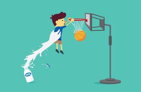 tomando leche: Gran parte de la botella de leche levantar un niño para disparar una pelota de baloncesto en el aro. Esta ilustración acerca de la leche de consumo