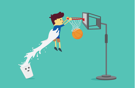 slam dunk: Milk glass lifting a boy to shoot a basketball into the hoop. This illustration about drinking milk.