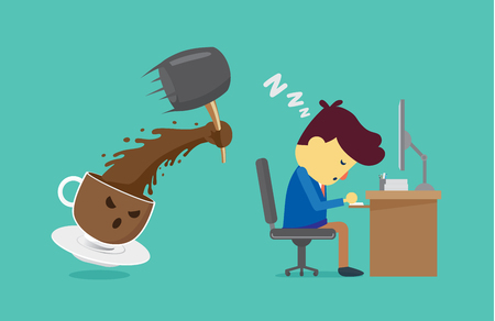 sleepy man: Coffee cup will wake worker up with use hammer smash. This illustration about coffee will wake you up for work and other