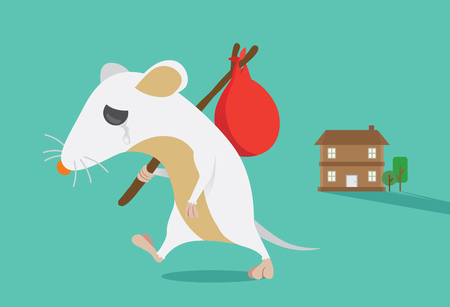 harming: Rat moving out of home. Rat crying. This illustration about keep rats away from House