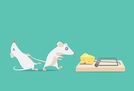 Rat try to stop friend to trapped because cheese. Ideal for illustration about business concept and consulting or other. Çizim