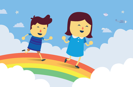 child laughing: Boy and girl play chasing on rainbow bridge in the sky. This is fantasy concept about kid Illustration