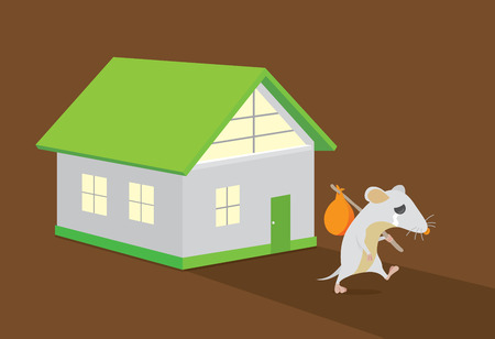 home moving: Rat moving out of home. Rat crying. This illustration about keep rats away from House