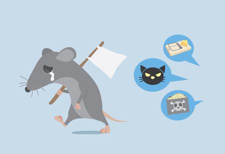 Rat er sprake van een witte vlag en weg te lopen omdat de weg te ontdoen van de rat door het eigenwoningbezit. Rat opgeven. Vector Illustratie