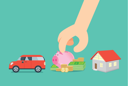 Select saving money from car and house. This illustration about financial planning.