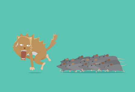 run away: Cat run away from rat battalion. The key to win is the power of unity. Business concept about teamwork.