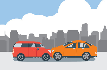Collision between a red car and orange car in the city.